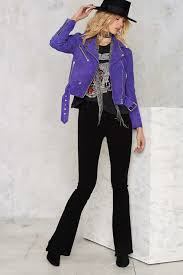youth motorcycle jacket nasty gal electric youth suede moto jacket in purple lyst