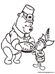 pooh color sheet coloring pages thanksgiving
