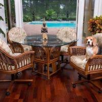 furniture brown wicker dining room chairs with casters and