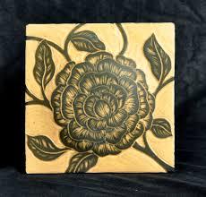 decorative sgraffito carved porcelain tile 6