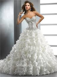 royal ball gown sweetheart ivory organza wedding dress with
