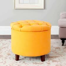 furniture leather yellow ottoman with small leather storage