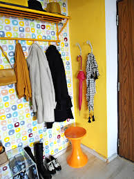decorating colorful entryway with colorful wall and unique