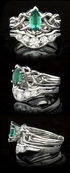 celtic wedding sets celtic bridal sets 3 4ct emerald marquise puzzle ring custom
