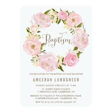 peonies wreath baptism invitation card
