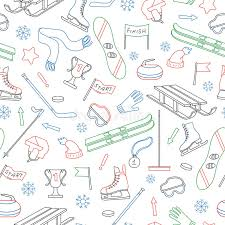theme line winter seamless illustration on the theme of winter sports simple colored