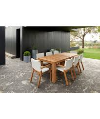 bairo teak timber outdoor dining table setting 10 chairs 11 piece