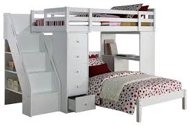 Megan Twin Size Loft Bed Desk Chest AllIn Workstation And Lower - Twin bunk bed with desk