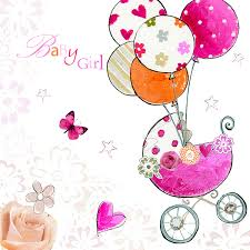 pink baby pram balloons card with glitter diamantes