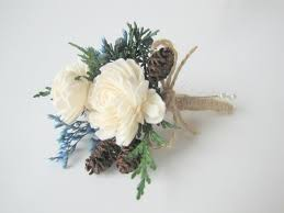 wedding corsages blue winter corsage rustic corsage pin on corsage pinecone