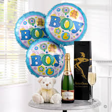 balloons and teddy delivery chagne baby boy balloon teddy gift set isle of wight flowers