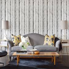 Woodland Forest Peel And Stick Birch Tree Wallpaper Grey Peel And Stick