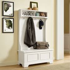 Entryway Hall Tree by Home Styles Naples White Hall Tree With Storage Bench Hayneedle
