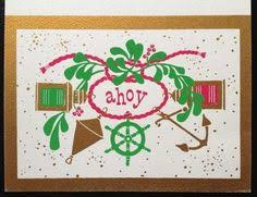 Nautical Themed Christmas Cards - 10 vintage 1960s silkscreen christmas card by annielovesmochi