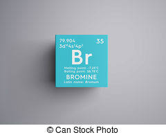 Bromine Periodic Table Clip Art Of Bromine Bromum Halogens Chemical Element Of