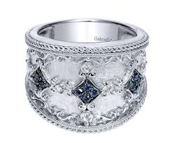 wide band gabriel co silver with blue sapphire wide band ring the