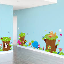 kids bedroom bajby the leading clothes toddlers cartoon green tree forest rabbit owl wall stickers kids living room bedroom kindergarten play decor paper