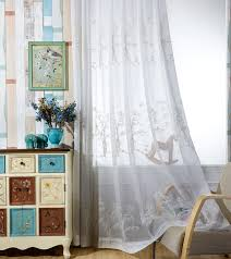 White Sheer Curtains Embroidered Voile Curtains For Living Room Pastoral Bamboo Pattern