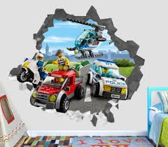 lego wall decals ebay lego city police villain smashed wall decal 3d sticker decor vinyl smash op78