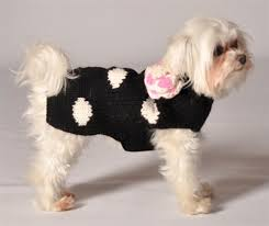 blakc and white polka dot handmade sweaters sweaters for dogs