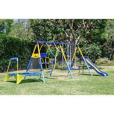 Trampoline Backyard Kids Playground Set Outdoor Swing Slide W Trampoline Backyard