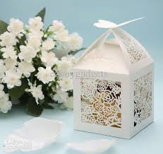 wedding party favor boxes or white butterfly top laser cut rosette favor