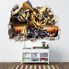 transformers bedroom transformers smashed wall sticker bedroom boys bumblebee vinyl