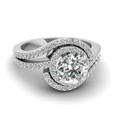 twisted band engagement ring 1 ct twisted halo ring in 14k white gold