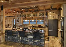 Log Home Kitchen Design Ideas by Beige Countertop Mix Stainless Steel Sink G Shaped Kitchen Designs
