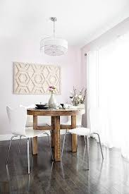 Pink Dining Room With Round Rclaimed Wood Dining Table With - West elm emmerson reclaimed wood dining table