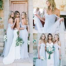 bridesmaids dress 2017 draped sky shoulder boho blue bridesmaid dresses