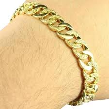 gold bracelet chain design images Gold mens miami cuban link design simulated diamond in 14k finish jpg