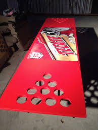 Custom Beer Pong Tables by Custom Tecate Beer Pong Table With Holes In The Wood For The Cups