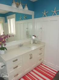 charming board and batten bathroom with white stained wooden