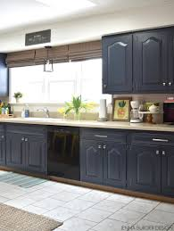 what color appliances with blue cabinets kitchen cabinet makeover reveal
