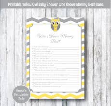 yellow owl baby shower who knows mommy best quiz game