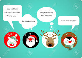 santa claus rudolph polar bear penguin speech bubbles