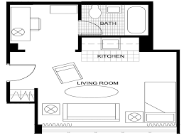 impressive simple studio apartment layout with livingroom along