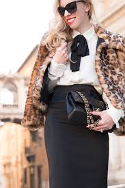 White Blouse With Black Bow Roman Holiday Leopard Fur Coat Bow Tie Blouse U0026 High Waist Skirt