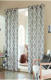 retro modern geometric print readymade lined eyelet curtains