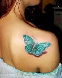 3d blue butterfly on back shoulder