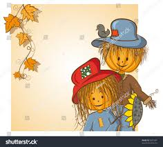 thanksgiving greeting card scarecrow his stock vector