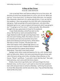 1st Grade Reading Comprehension Worksheets A Day At The Circus Third Grade Reading Comprehension Worksheet