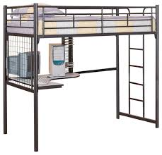Adorable Loft Bed With Futon And Desk With Black Metal Guard Twin