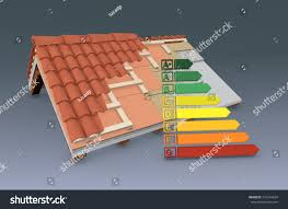 crosssection house roof all layers visible stock illustration