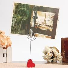 Iron Home Decor Red Stand Circle Iron Clip Card Stand Photo Card Holder Memo Paper