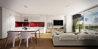 Studio Apartment Red White Studio Apartment Interior Design Ideas