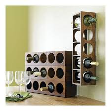 featured charming metal wall mounted wine racks with dark wood