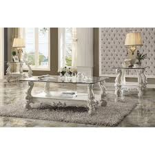 versailles traditional bone white wood glass coffee table
