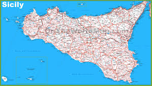 Cities In Italy Map by Large Detailed Map Of Sicily With Cities And Towns